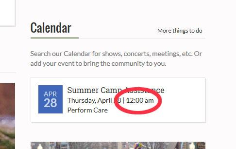 bug in event time display in calendar block template general forum townnewscom